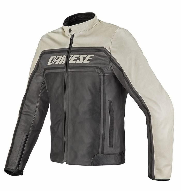 Dainese leather motorcycle jacket Tourage Vintage Black Ice Magn
