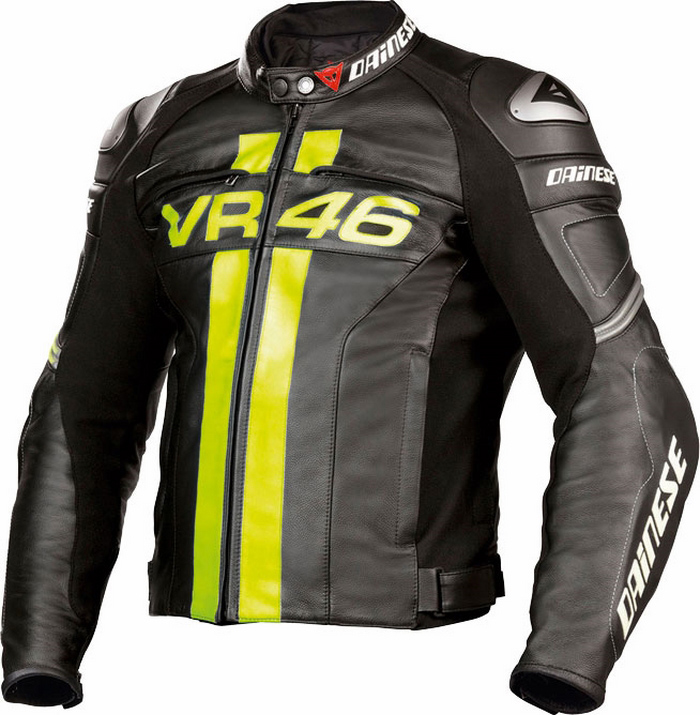 Leather motorcycle jacket Dainese VR46 Black Yellow
