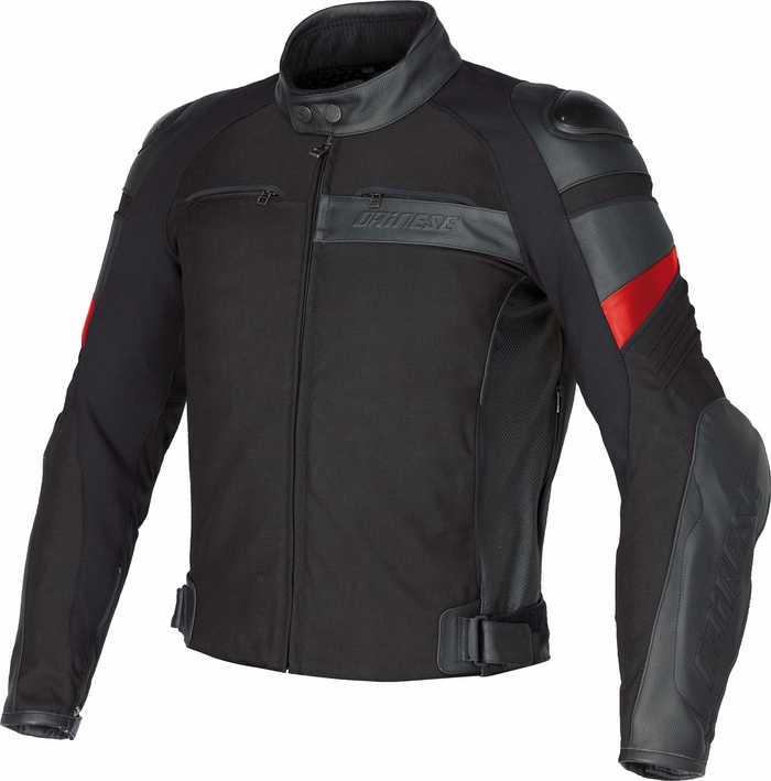 Dainese leather motorcycle jacket Frazer Black Red