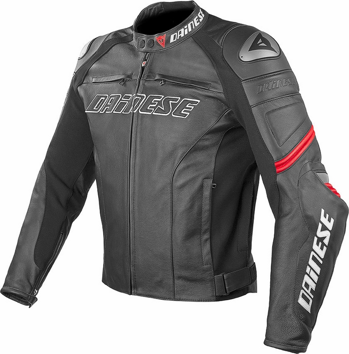 Dainese Racing Leather Motorcycle Jacket Black Red C2