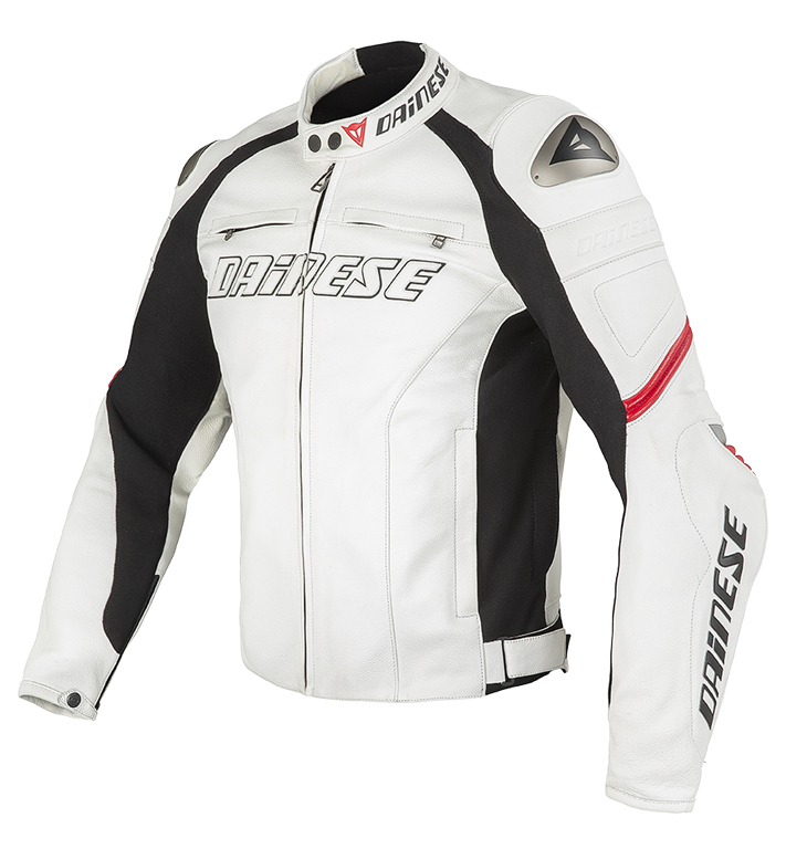 Dainese Racing Leather Motorcycle Jacket White Red C2