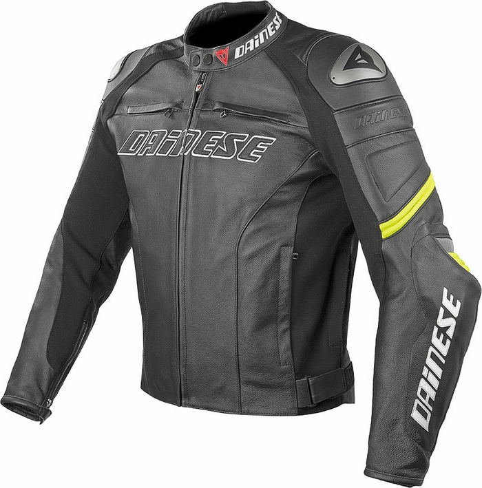 Dainese Racing Leather Motorcycle Jacket Black Yellow C2