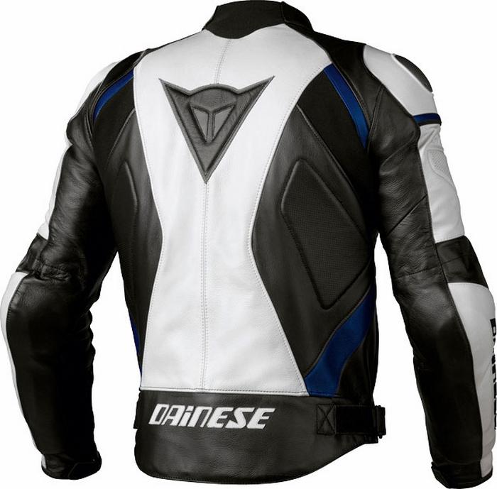 Leather motorcycle jacket Dainese Avro C2 Black White Blue
