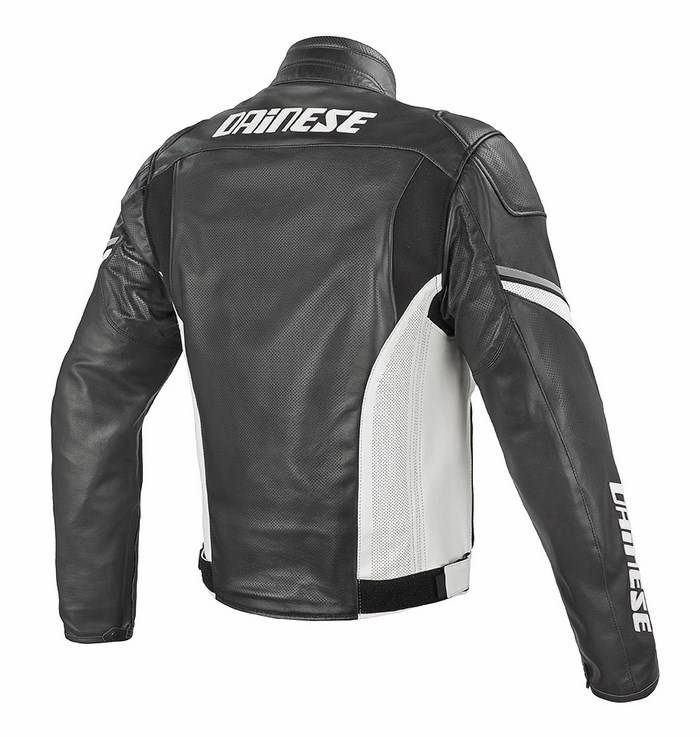 Dainese leather motorcycle jacket summer Airfast Black White