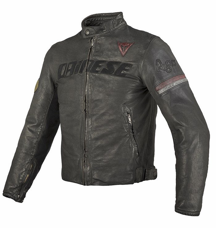 Black leather motorcycle jacket Dainese Archive August
