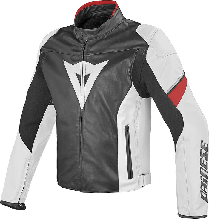 Giacca moto pelle Dainese Airfast Nero Bianco Rosso