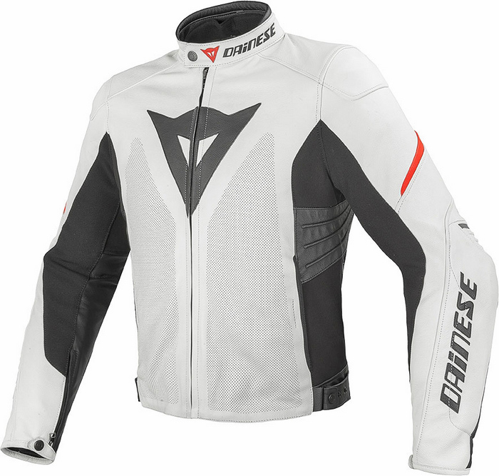 Summer leather motorcycle jacket Dainese Laguna Evo White Red