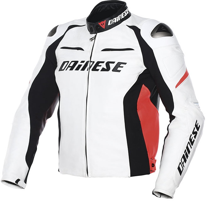 Dainese Racing D1 leather summer jacket White Black Red