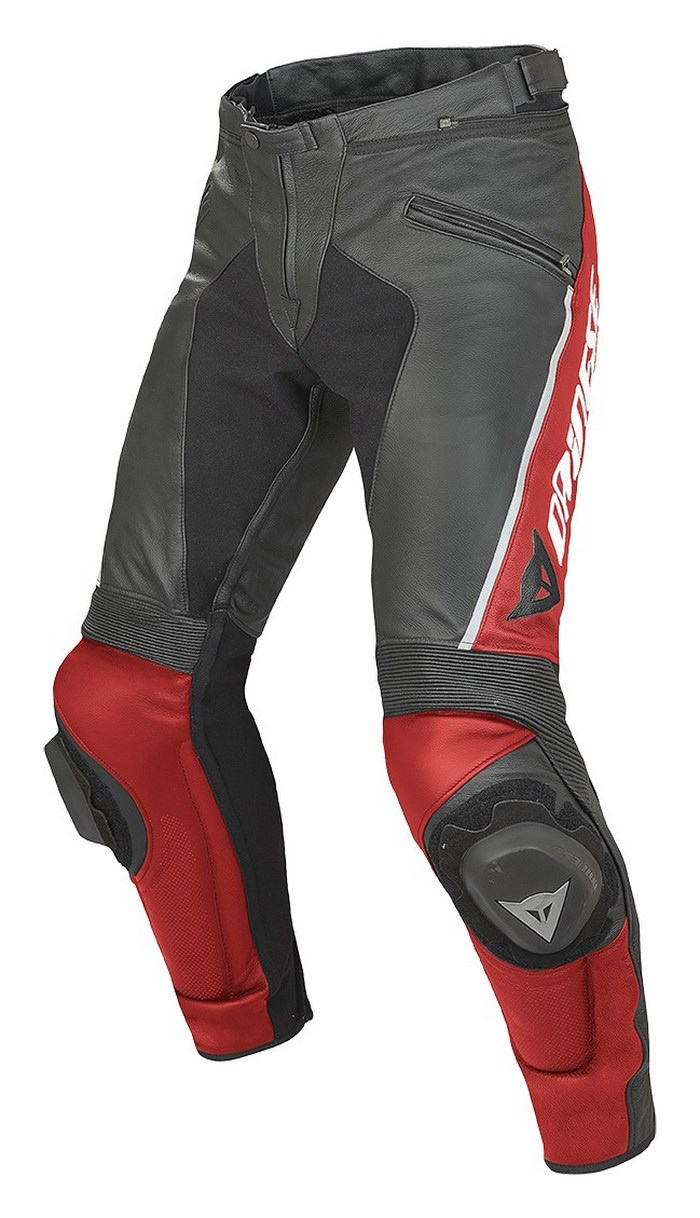 Leather motorcycle pants Dainese Delta Pro C2 Black Red