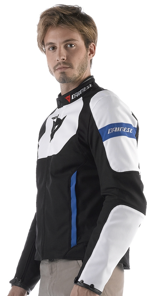 Dainese Avro Tex motorcycle jacket black-white-blue