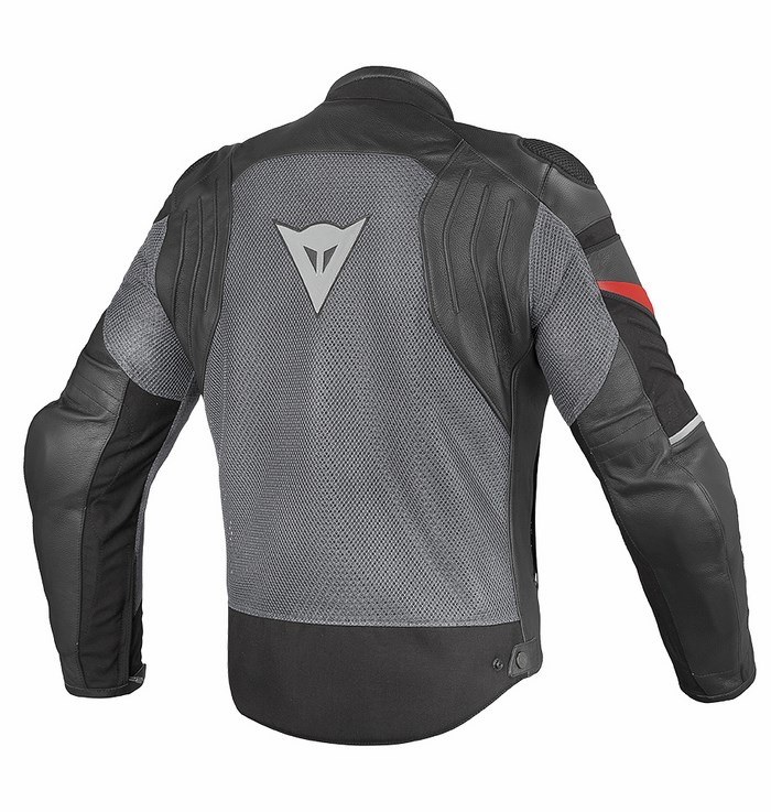 Motorcycle jacket Dainese Air Frazer leather and fabric Black An