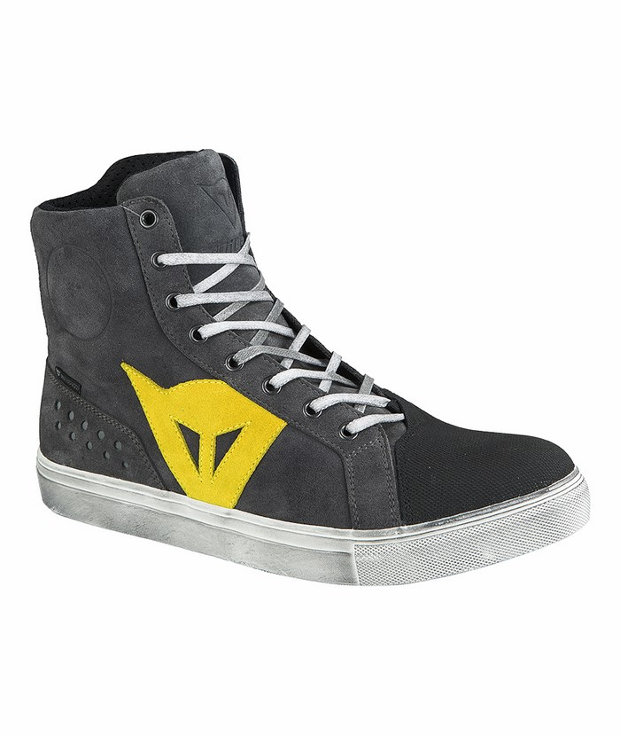 Street Biker Boots Dainese D-WP Anthracite Yellow