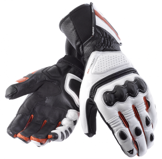 Dainese Pro Carbon motorcycle gloves white-black-red