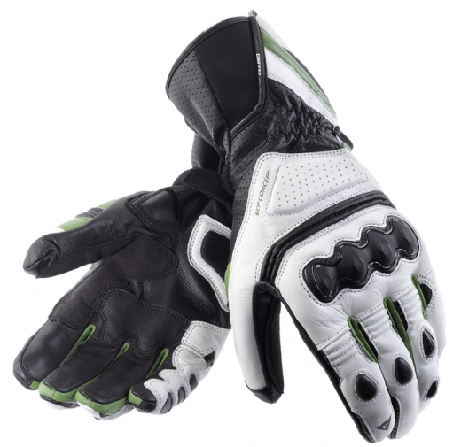 Dainese Pro Carbon motorcycle gloves white-black-green