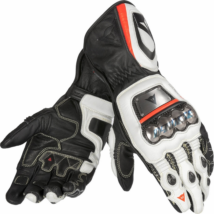 Leather Motorcycle Gloves Dainese Pro Metal RS Black White Red