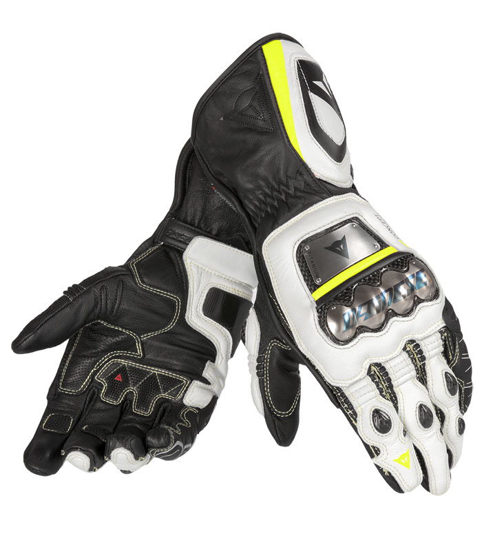 Leather Motorcycle Gloves Dainese Full Metal RS Black White Yell