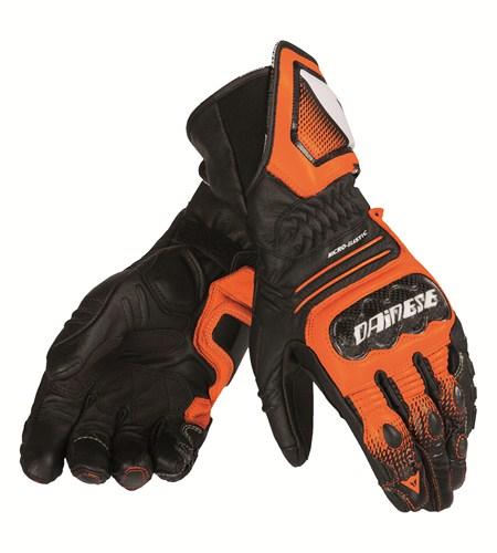 Dainese Carbon Cover ST leather gloves black-orange-white