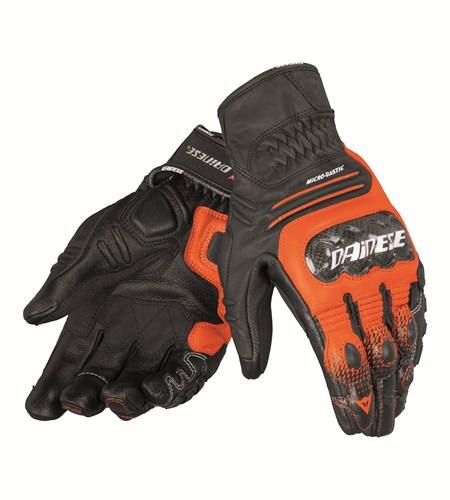 Guanti moto pelle Dainese Carbon CoverS-ST nero arancio bianco