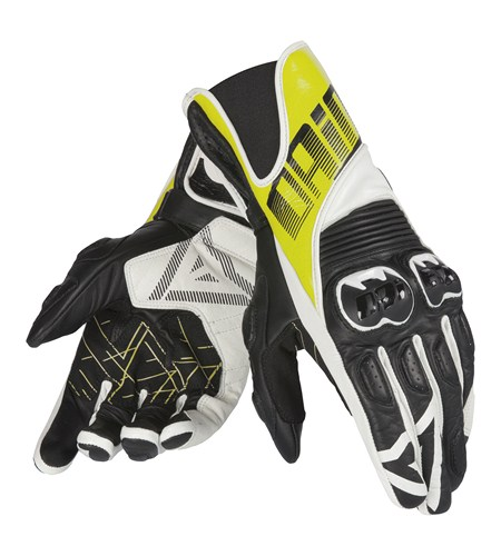 Dainese Crono leather gloves black-yellow fluo