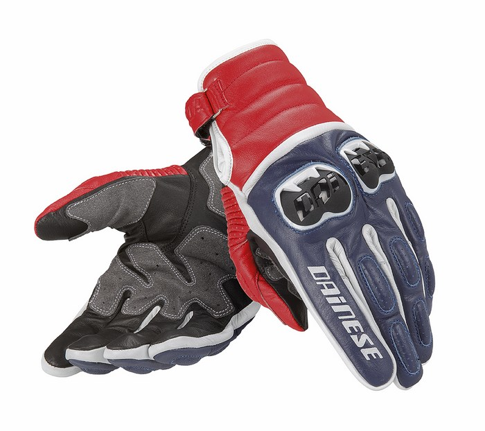 Motorcycle Gloves Dainese leather Frazer Blue White Red