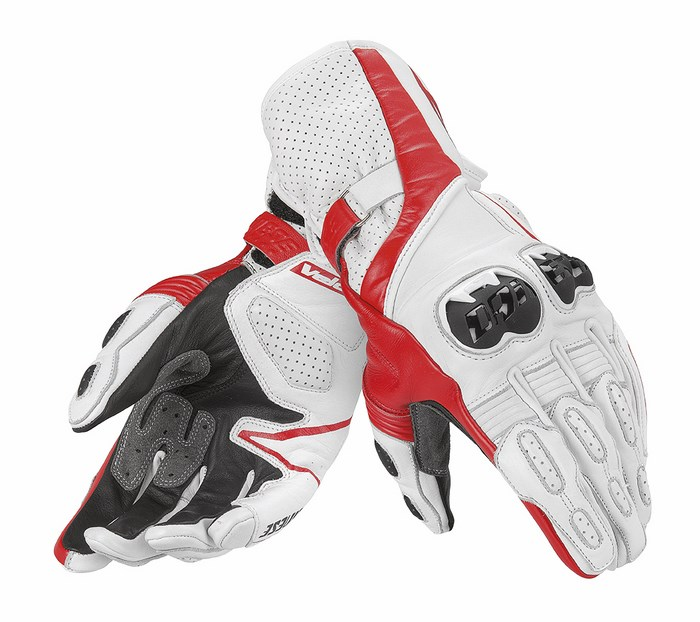 Leather Motorcycle Gloves Dainese Fast Black Red