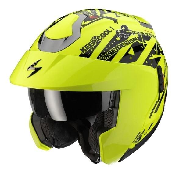 Scorpion Exo 900 Air Signal flip off helmet Neon Yellow