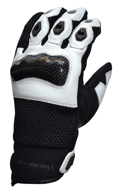 Summer Motorcycle Gloves Leather Jollisport Manta Black / White