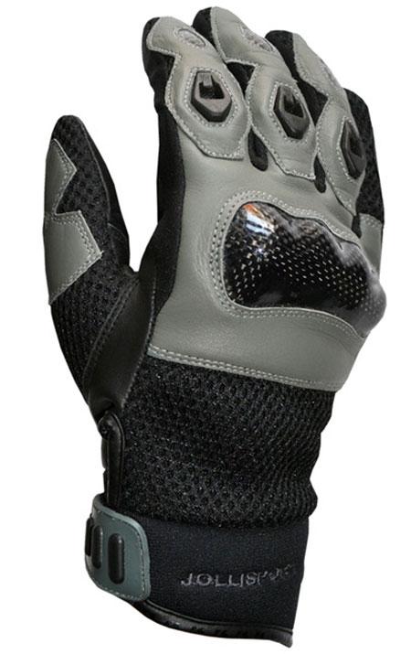 Guanti moto estivi in pelle Jollisport Manta nero grigio