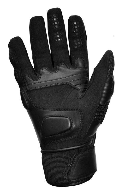 Summer motorcycle gloves leather black Jollisport Blade