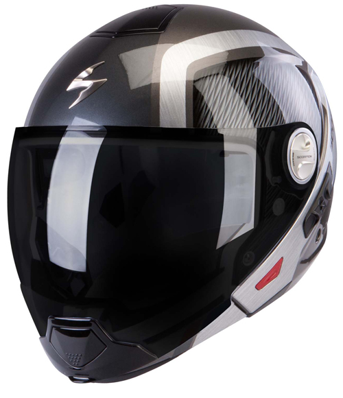 Scorpion Exo 300 Air Grid flip off helmet Dark Silver