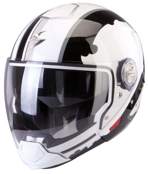 Scorpion Exo 300 Air Gunner flip off helmet White Black