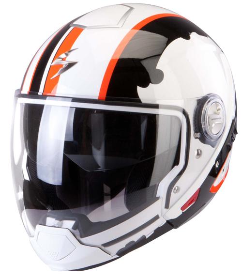 Casco modulare Scorpion Exo 300 Air Gunner Bianco Nero Arancio