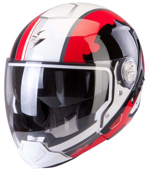 Scorpion Exo 300 Air Gunner flip off helmet White Red Black