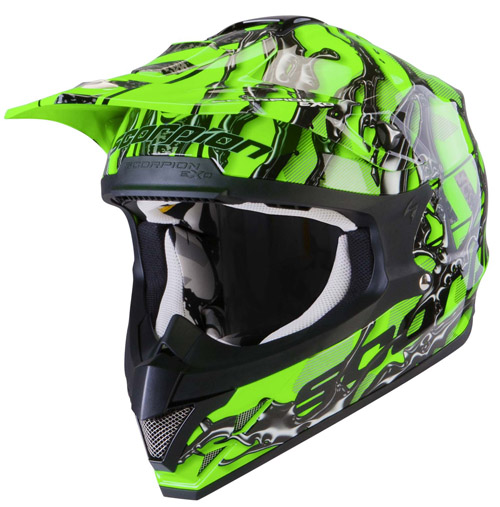 Casco cross Scorpion VX 15 Air Oil Verde Neon Nero