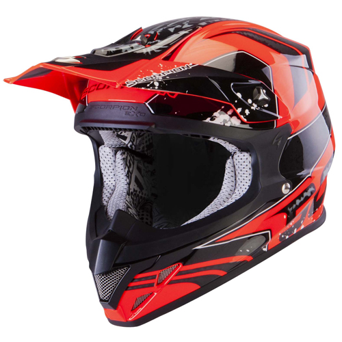 Casco cross Scorpion VX 20 Air Quartz Rosso Neon