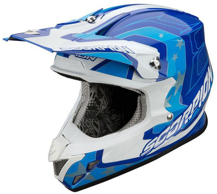 Casco cross Scorpion VX 20 Space Blu Bianco Azzurro