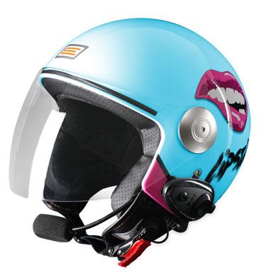 Jet helmet with intercom Lipstick Origin Ready KIE Blue