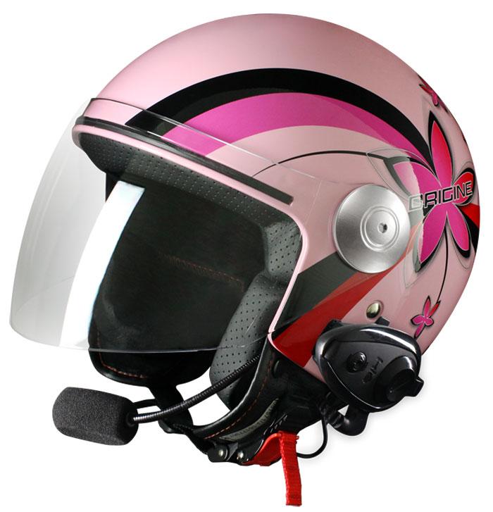 Origine Pronto Flower jet helmet with intercom Kiè Pink
