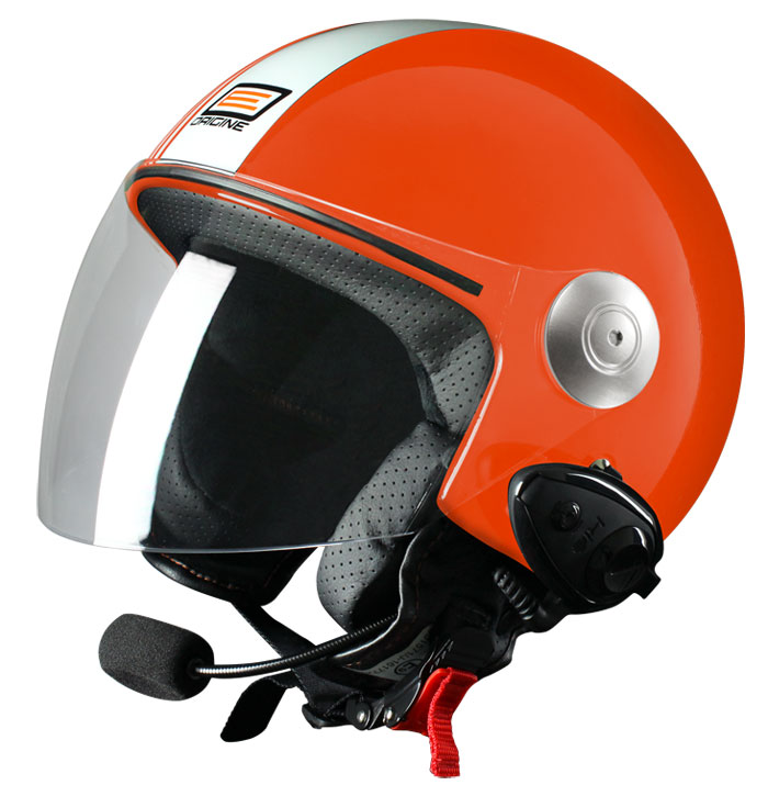 Casco jet Origine Pronto Tony con interfono Kiè Rosso