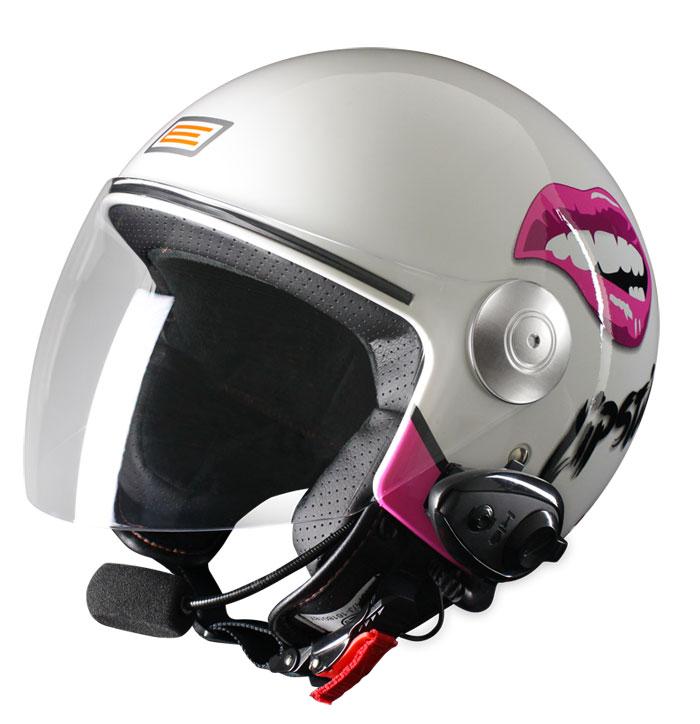 Origine Pronto Lipstick Jet helmet with intercom KIE White