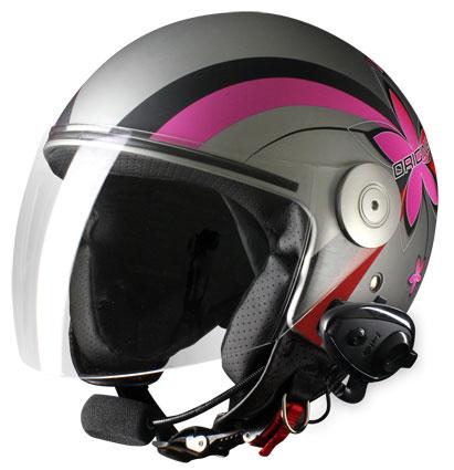 Origine Pronto Flower Jet Helmet intercom KIE Titanium