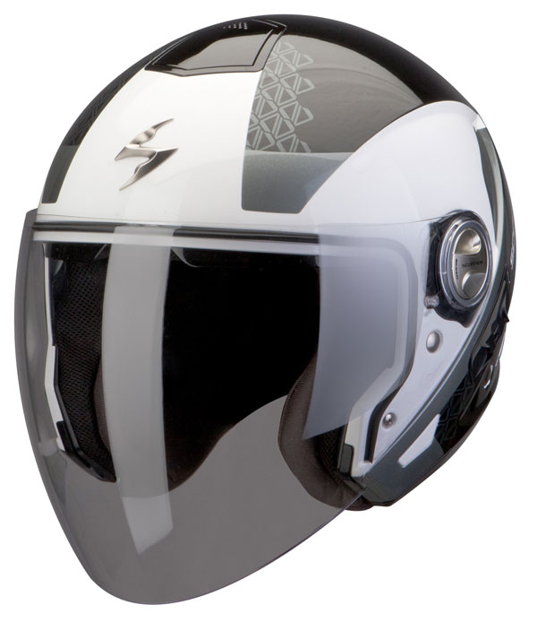 Casco jet Scorpion Exo 210 Biron Nero Bianco Argento