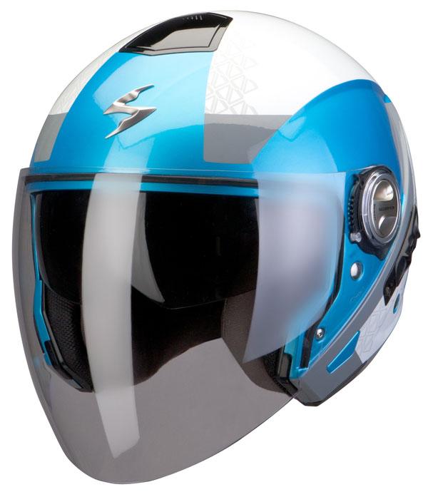Scorpion Exo 210 helmet Biron White Blue Silver