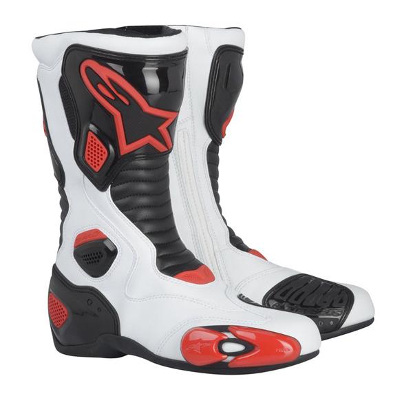 Stivali moto racing Alpinestars S-MX 5 bianco-nero-rossi