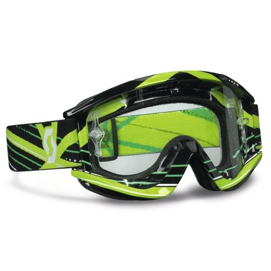 Occhiali motocross Scott RecoilXI Pro Grid Lock Nero Verde