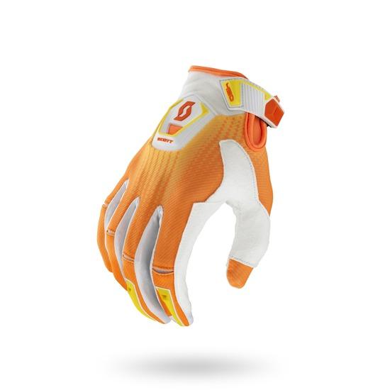 Guanti cross Scott 450 Fission Bianco Arancio