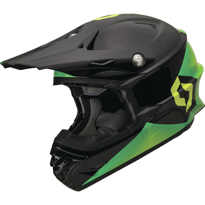 Casco cross Scott 350 Pro Fission Nero Verde