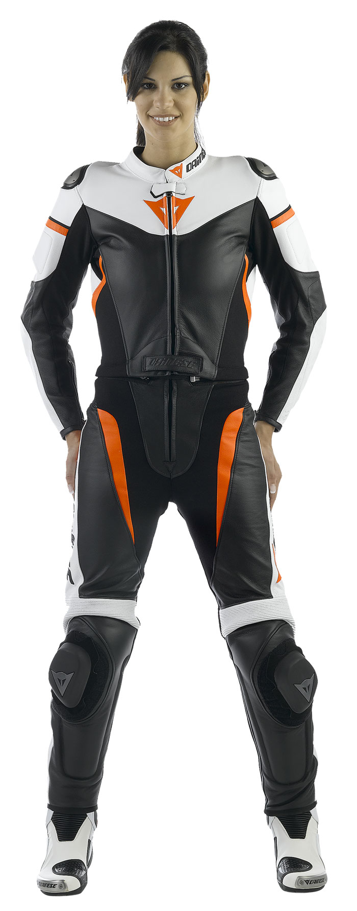Dainese leather motorcycle suit divisible woman Avro Black White