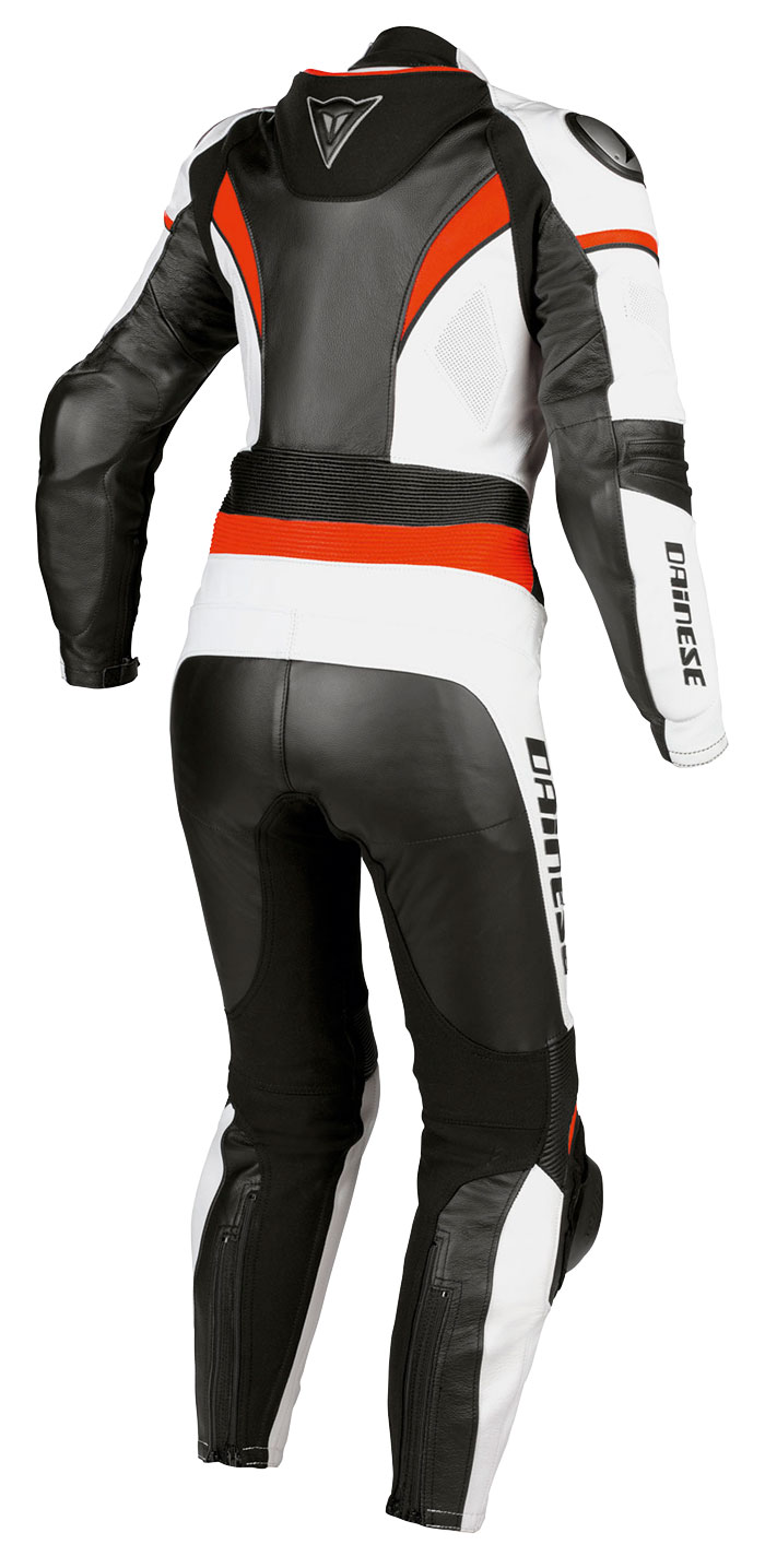 Dainese leather motorcycle suit woman Victoria White Black Red