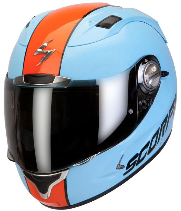 Full face helmet Scorpion Exo 1000 Splitter Sky Blue Orange